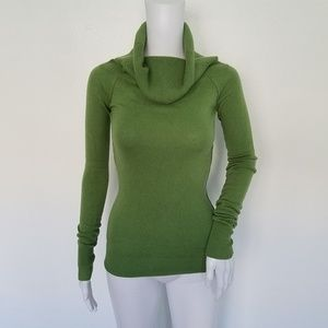 Joie Green Turtleneck Cashmere Blend Sweater Small